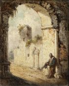 Circle of George Chinnery RHA (Tipperary 1774-1852 Macau) A Chinese beggar at the gate of a temple