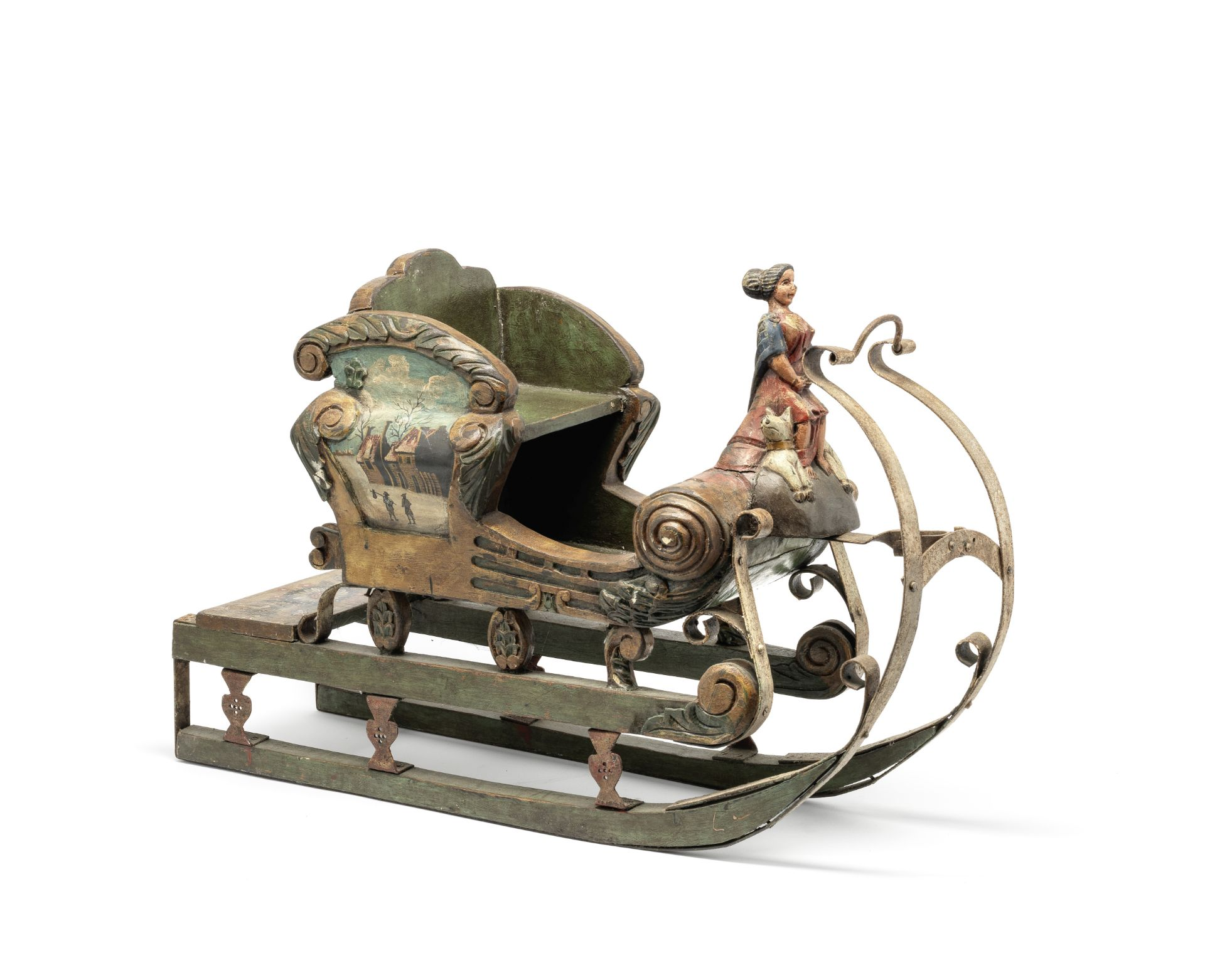 Los 197 - An unusual Northern European painted wood and wrought-iron child's sledge probably Scandanavian, ...