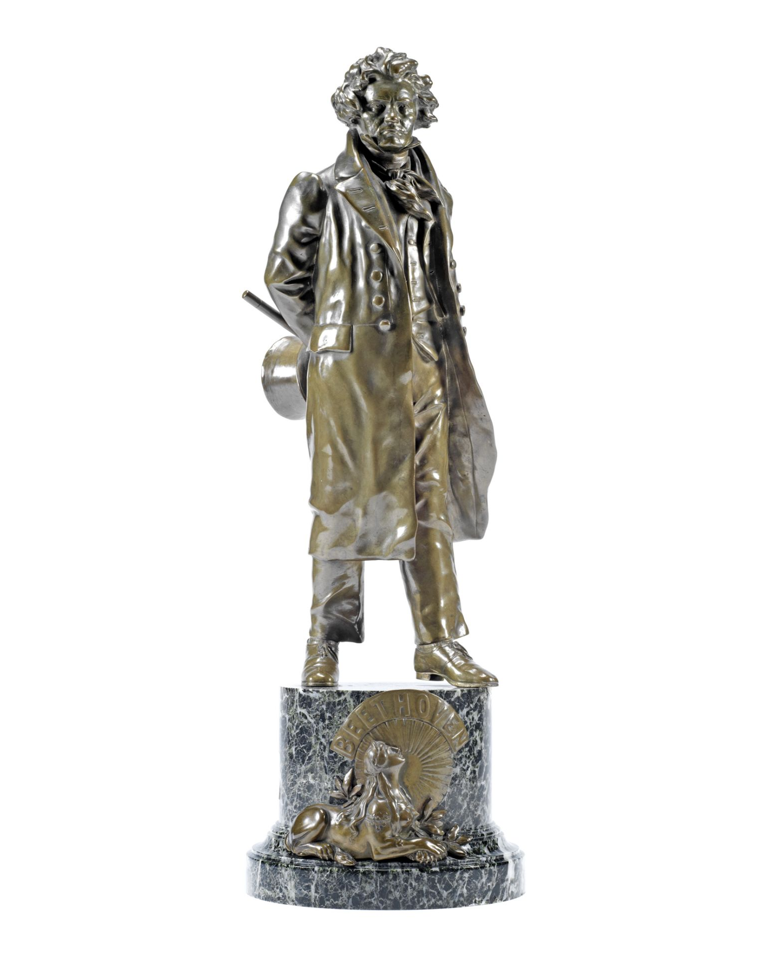 Los 169 - A late 19th/early 20th century patinated bronze figure of Beethoven probably German or Austrian