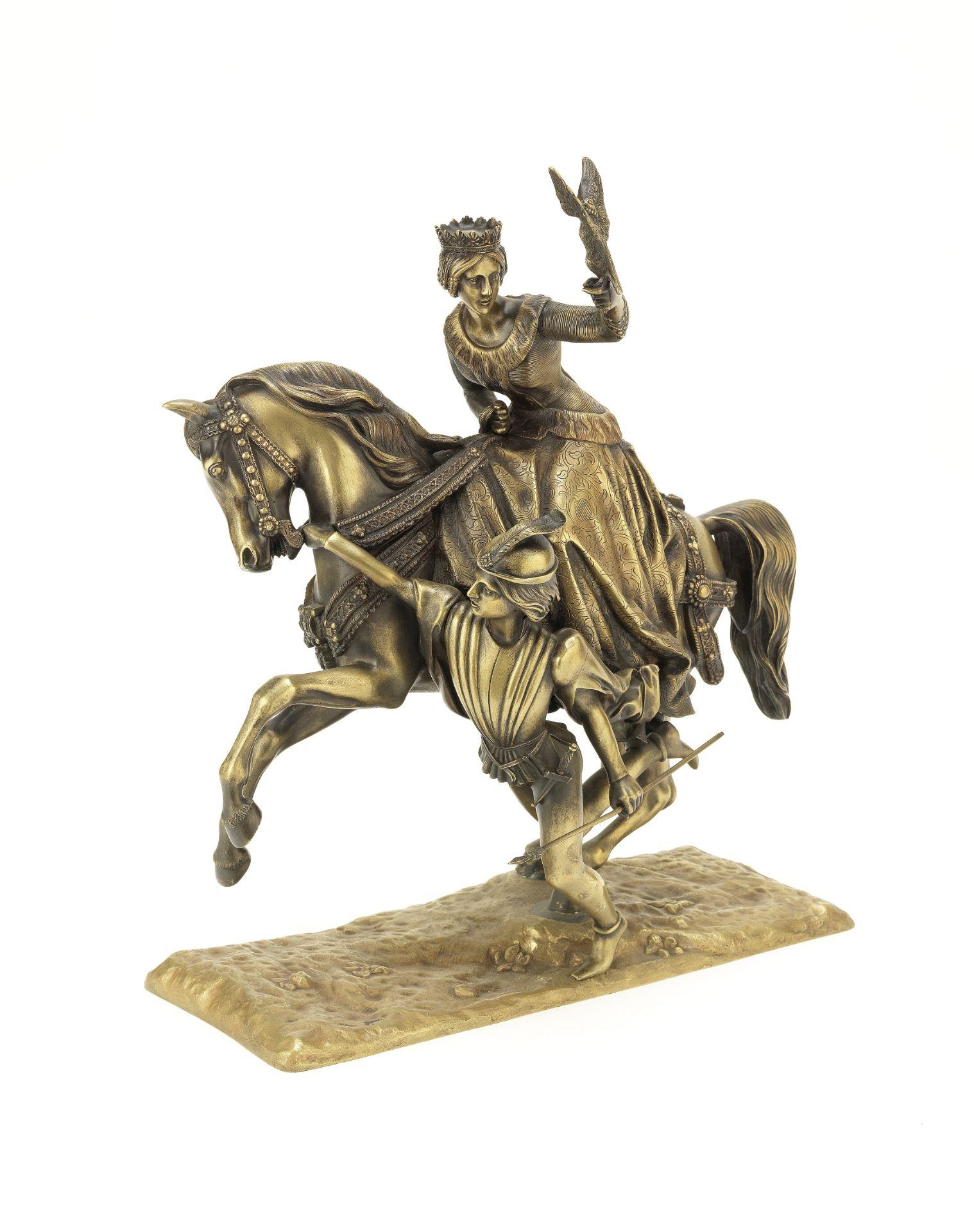 Los 63 - A 19th century bronze equestrian figure of Eleanor of Aquitaine