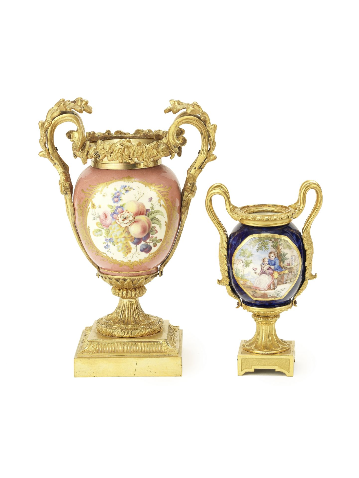 Los 137 - Two late 19th century French gilt bronze mounted Sevres style porcelain urns (2)
