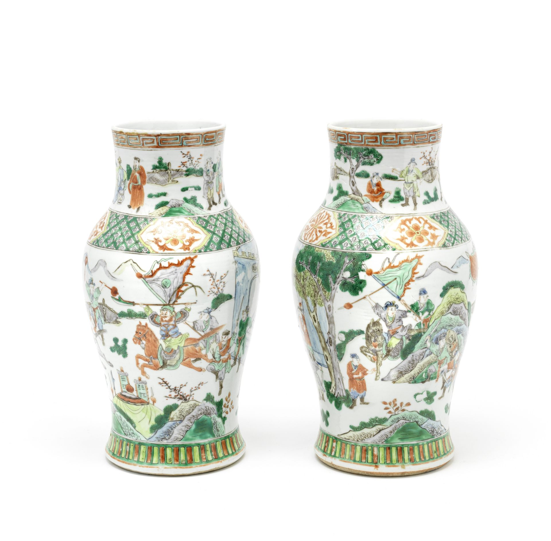 Los 224 - A pair of 19th Century Chinese famille verte vases (2)