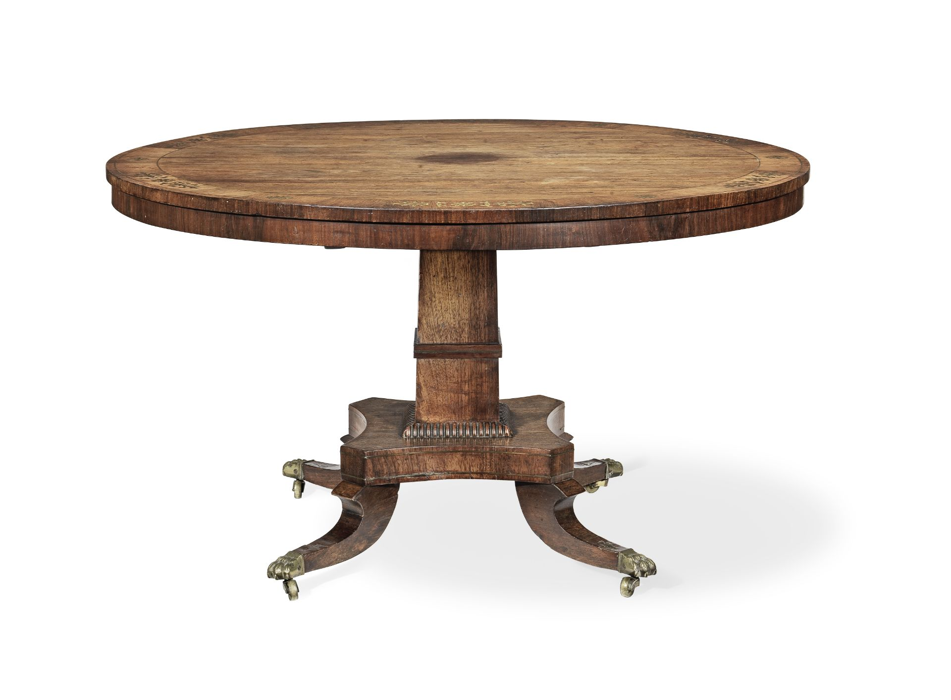 Los 112 - A Regency rosewood and brass inlaid breakfast table in the manner of George Oakley