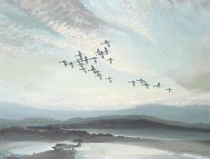 Vernon Ward (British, 1905-1985) Geese in flight at sunset