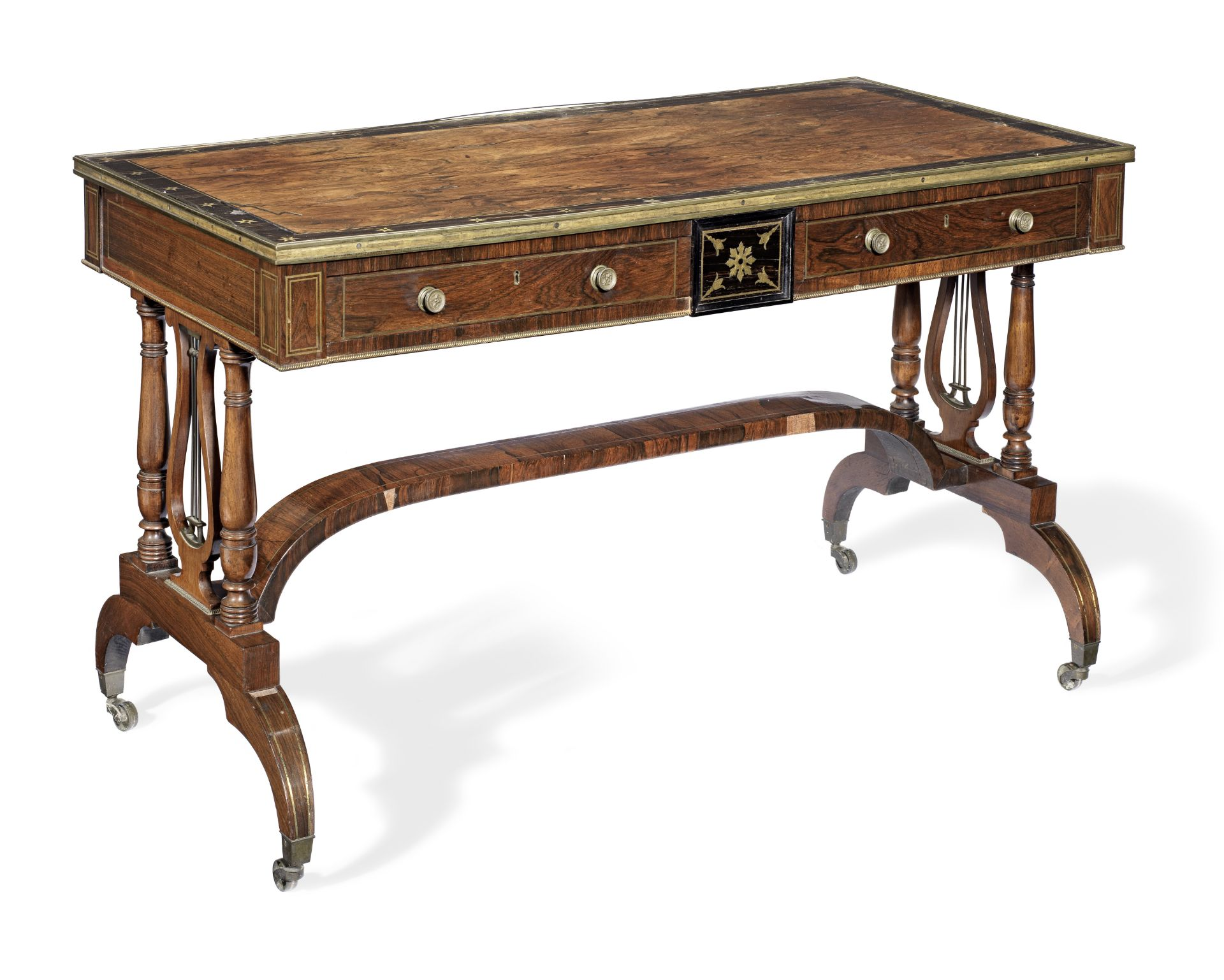 Los 93 - A Regency brass inlaid rosewood and calamander banded library table almost certainly by either Jo...