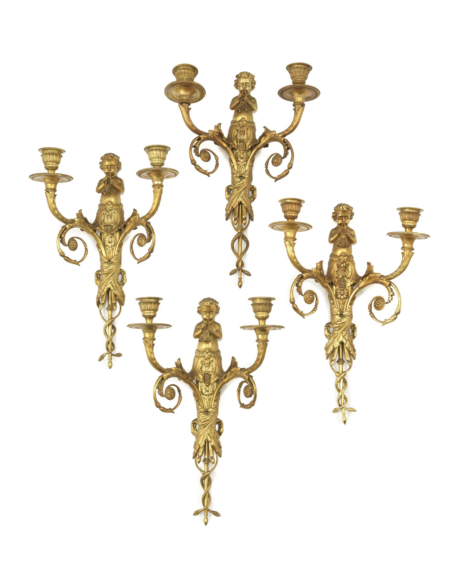 Los 53 - A set of four gilt bronze twin-light wall appliques in the Louis XVI style (4)