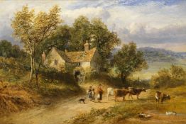 Attributed to Thomas Whittle, Junior (British, active 1865-1892) Family of cattle drovers on a su...