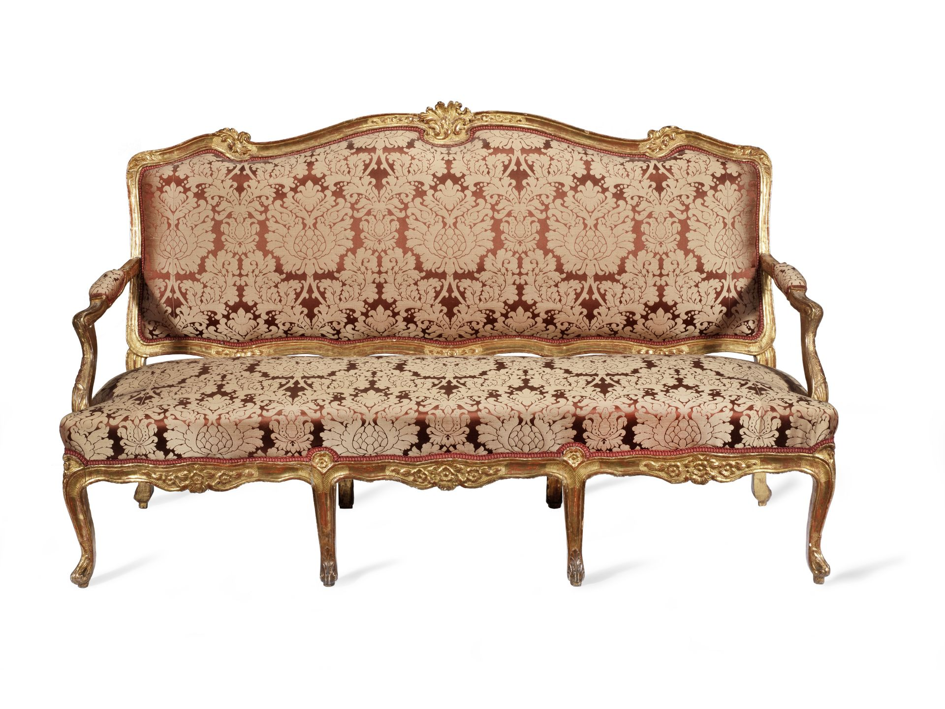 Los 91 - A Napoleon III giltwood canape in the Louis XV style