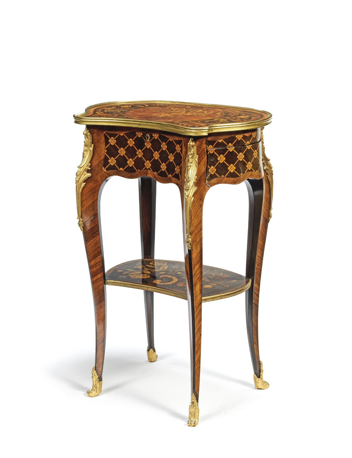 Los 68 - A Napoleon III gilt bronze mounted kingwood, amaranth, stained sycamore and marquetry table a ouv...