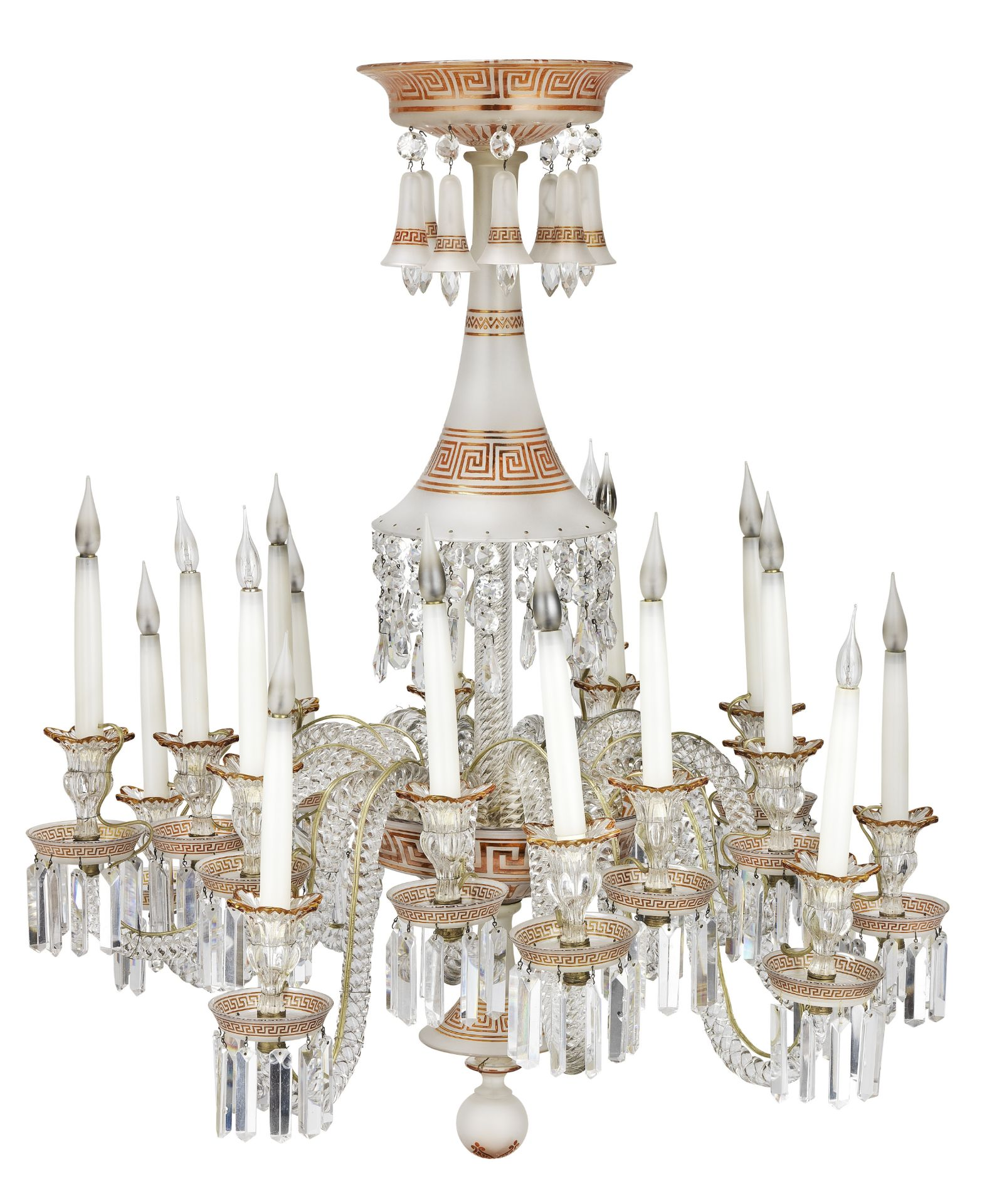 Los 121 - A Baccarat clear, frosted and amber flashed glass eighteen light chandelier