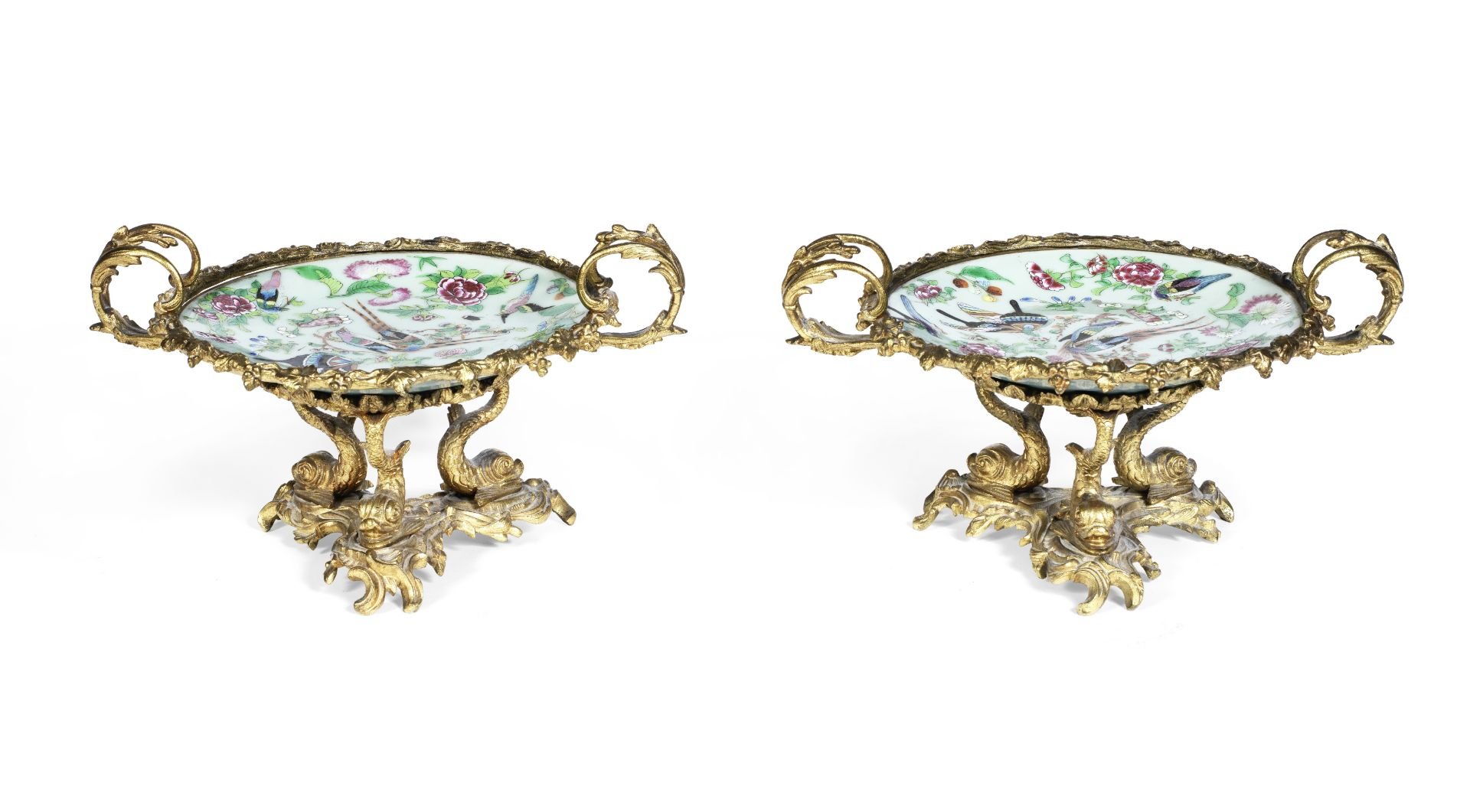 Los 219 - A pair of late 19th century French gilt bronze mounted Chinese famille rose porcelain tazze (2)