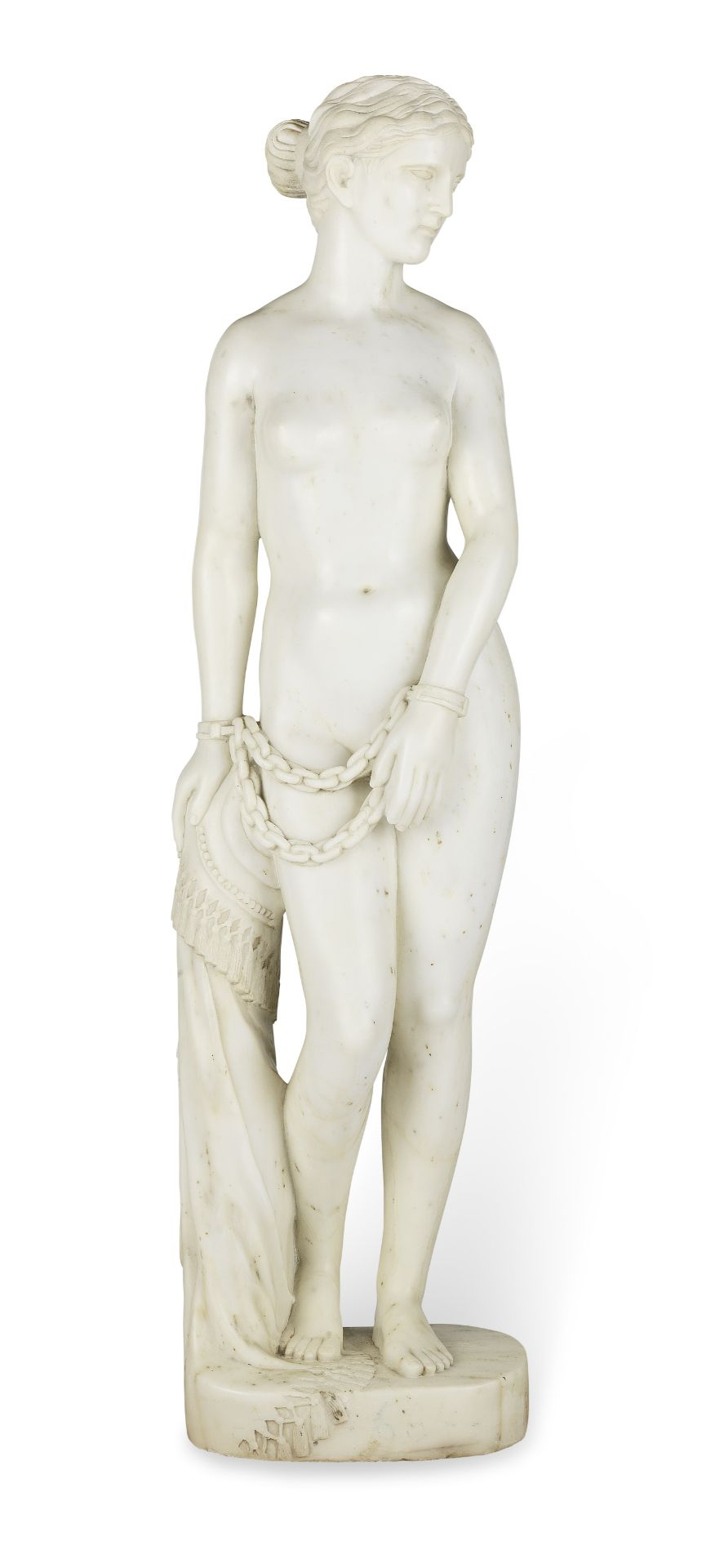 Los 150 - A white marble figure of 'The Greek Slave' after Hiram Powers (American, 1805-1873)