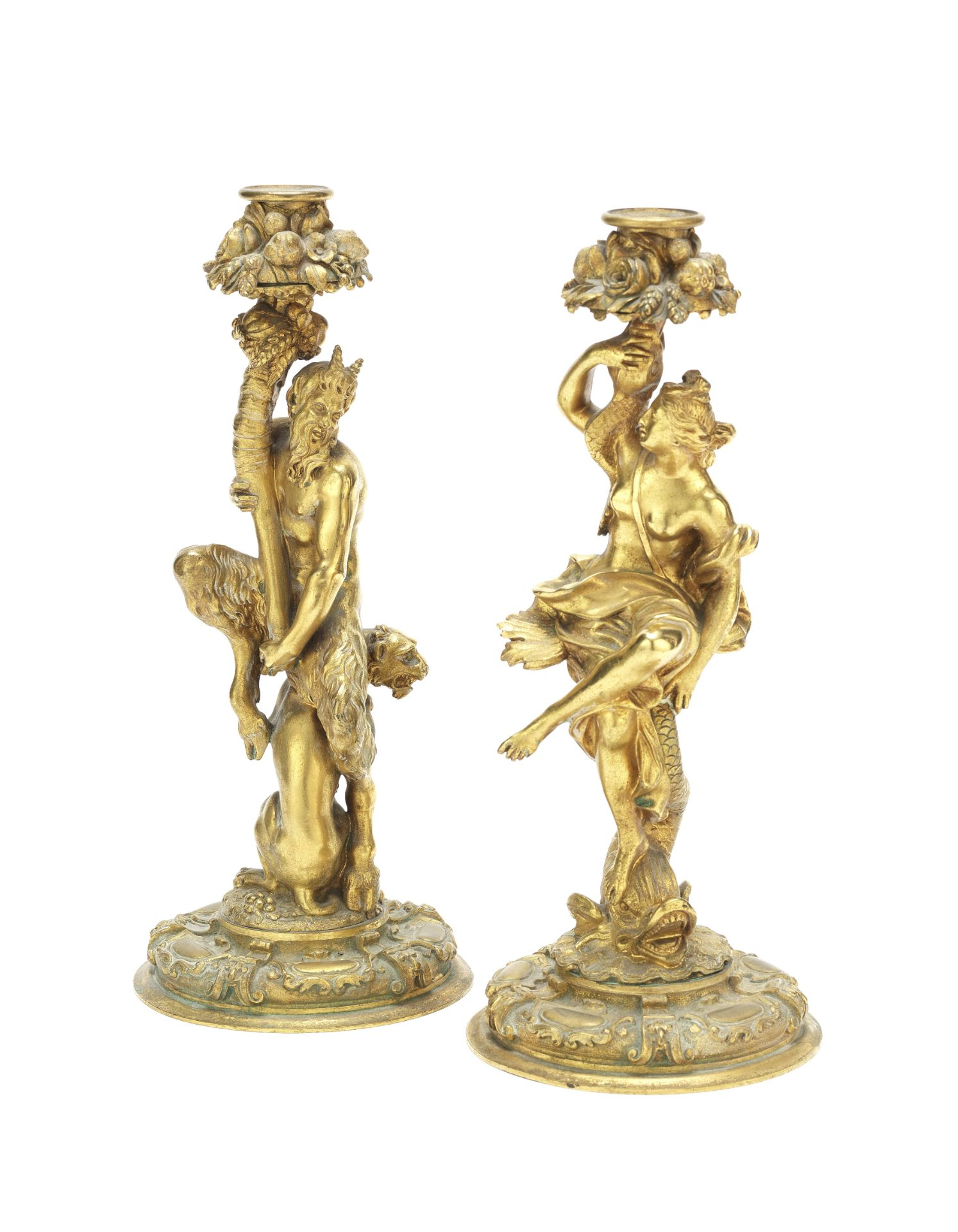 Los 56 - A pair of French 19th century gilt bronze figural candlesticks (2)