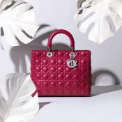 Red Lambskin Large Lady Dior, Christian Dior, c. 2011, (Includes shoulder strap, authenticity car...