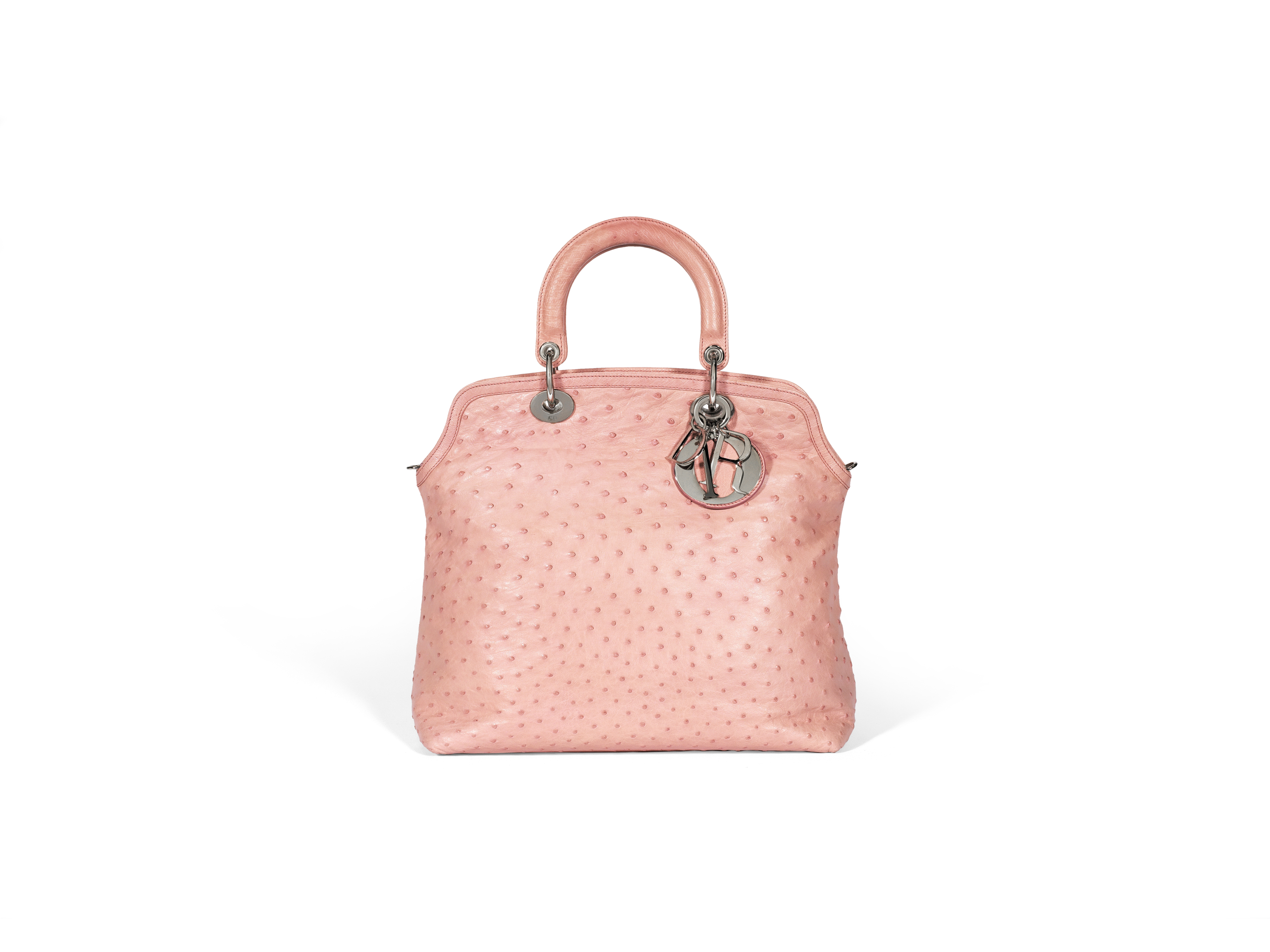 Pink Ostrich Granville Tote, Christian Dior, c. 2011, (Includes shoulder strap and dust bag)