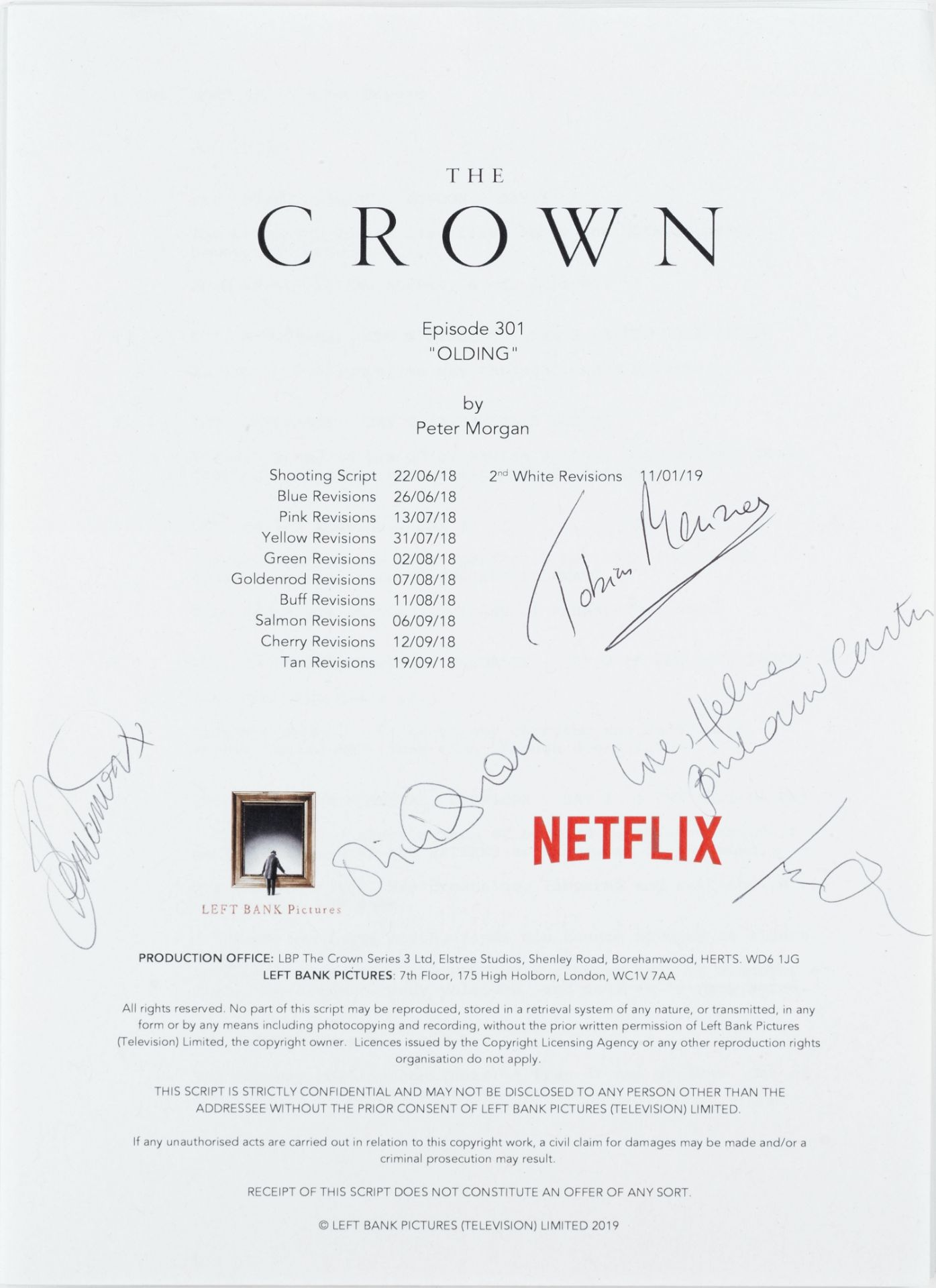 The Crown: An autographed script for Series 3, Episode 1 'Olding', Left Bank Pictures / Sony Pict...