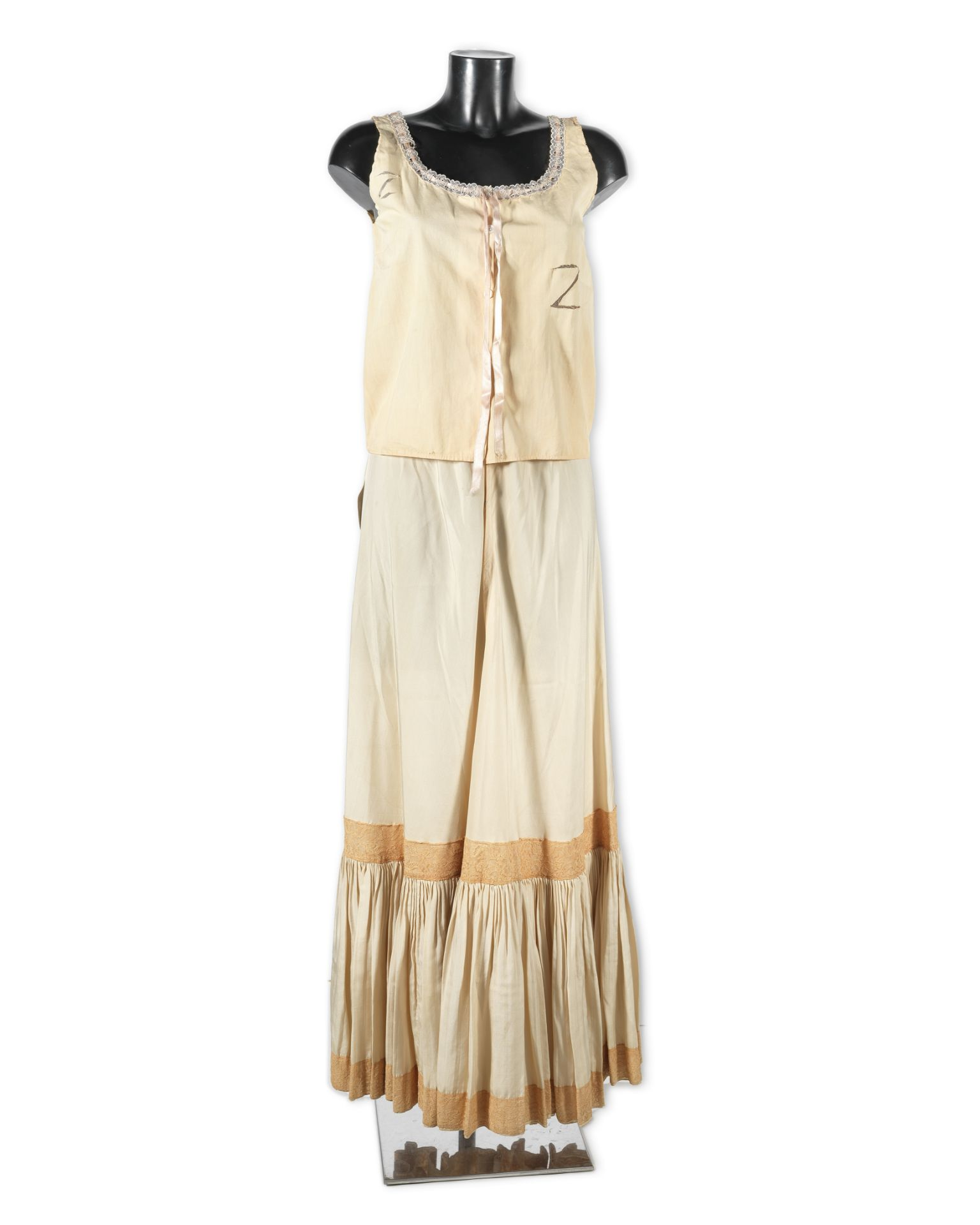 Mary Poppins: A cream silk slip made for Julie Andrews for her role as 'Mary Poppins', Walt Disne...