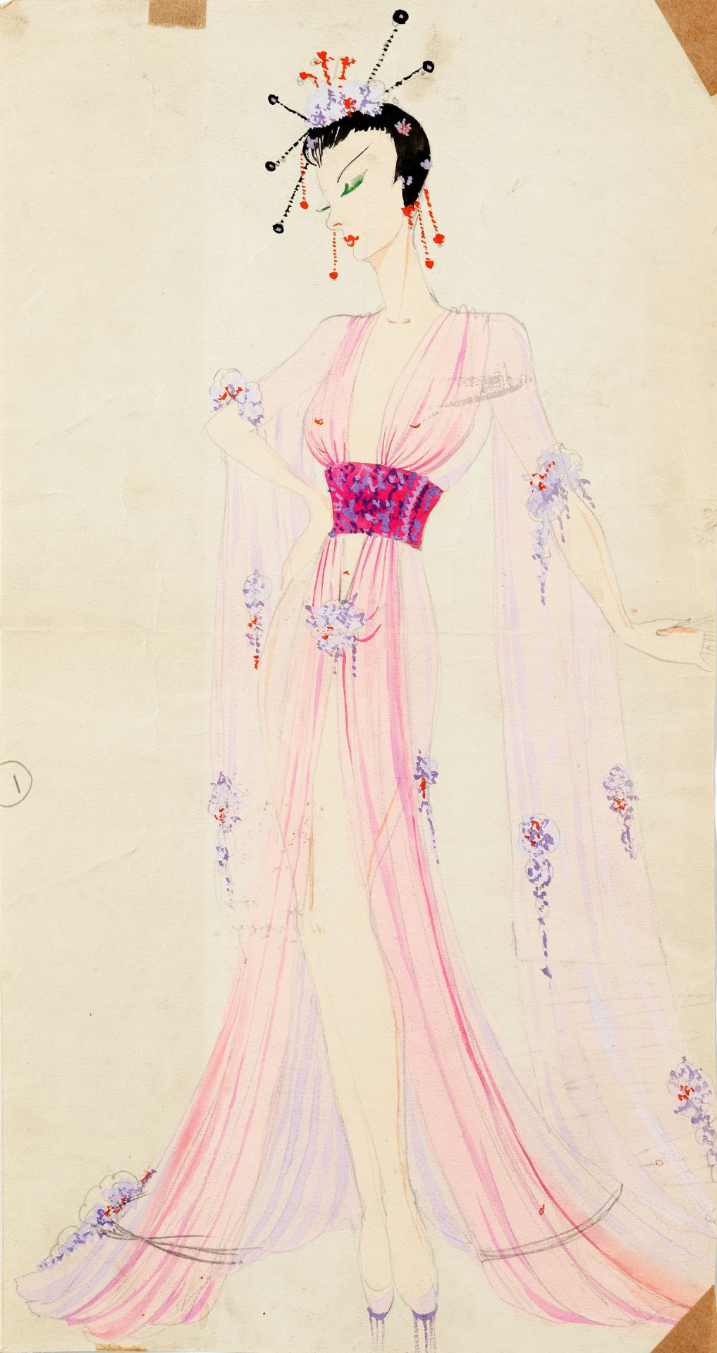 MICHAEL BRONZE (BRITISH, 1916-1979): A GROUP OF FOUR DRAWINGS OF Oriental COSTUME DESIGNS FOR MUR...