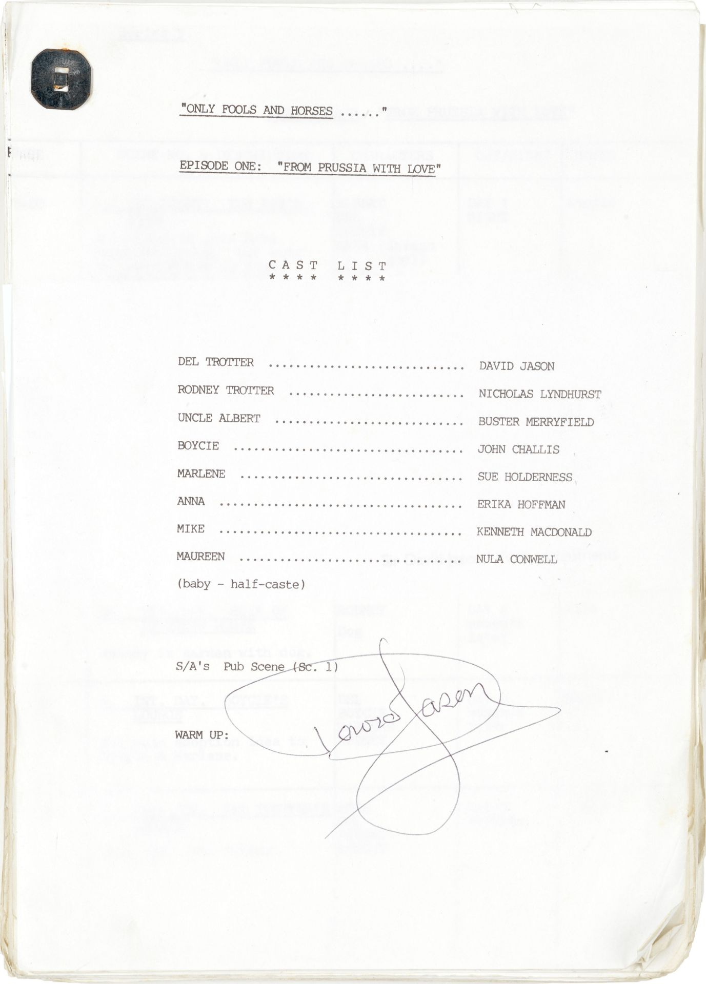 Only Fools And Horses: An original working script signed and annotated by David Jason, BBC, 1968,