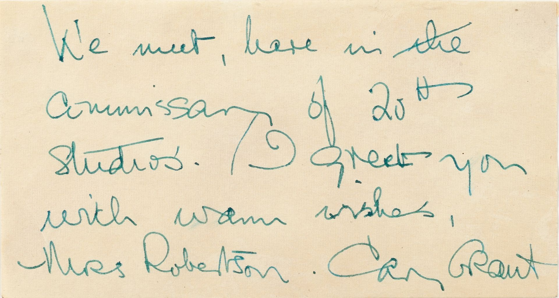 Cary Grant: A signed and inscribed autograph page, circa 1950's,