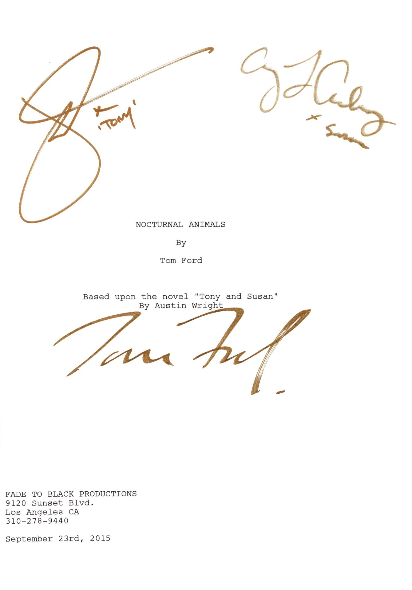 Nocturnal Animals: A signed script, Fade To Black Productions, 2016,