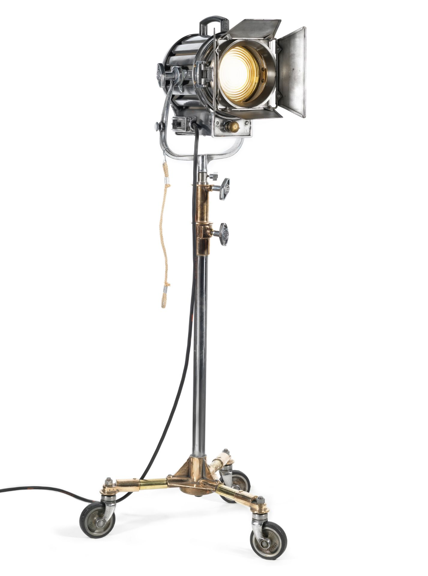 A vintage Mole-Richardson studio lamp with stand used to light Ingrid Bergman in test-shots, 1950...