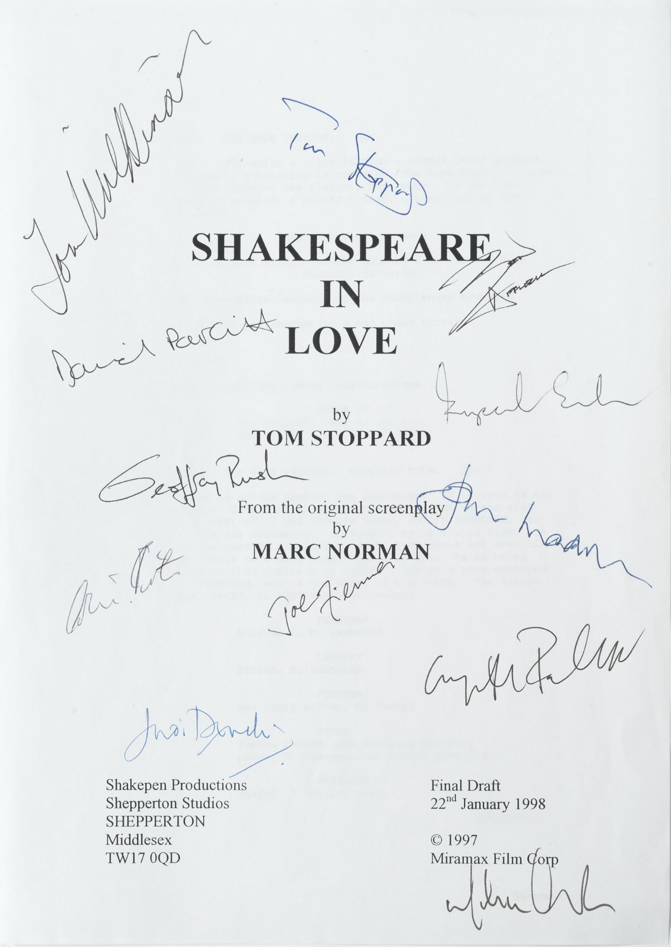 Shakespeare In Love: An autographed screenplay script, Shakepen Productions / Miramax Film Corp, ...