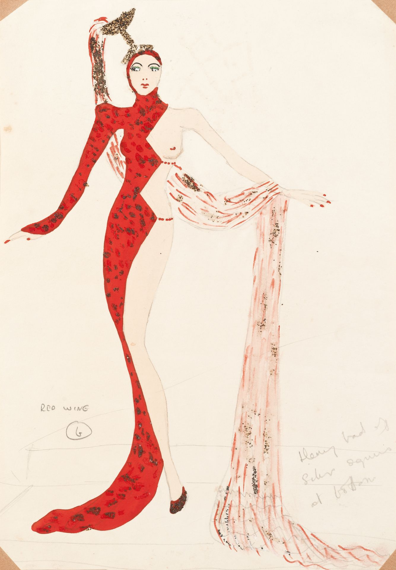 MICHAEL BRONZE (BRITISH, 1916-1979): A GROUP OF FOUR DRAWINGS OF COSTUME DESIGNS FOR MURRAY'S CAB...