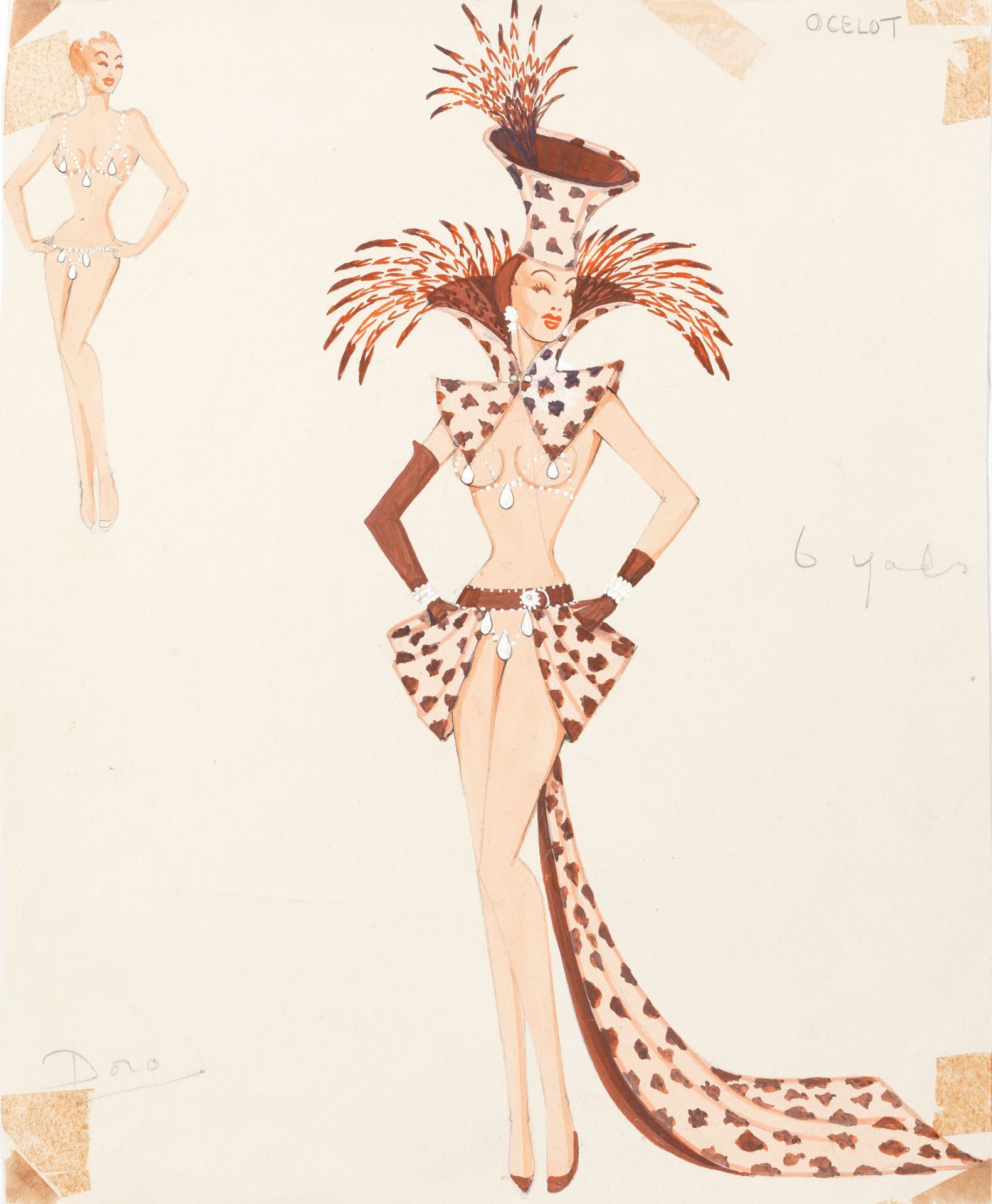 MICHAEL BRONZE (BRITISH, 1916-1979): A GROUP OF SEVEN DRAWINGS OF COSTUME DESIGNS FOR MURRAY'S CA...