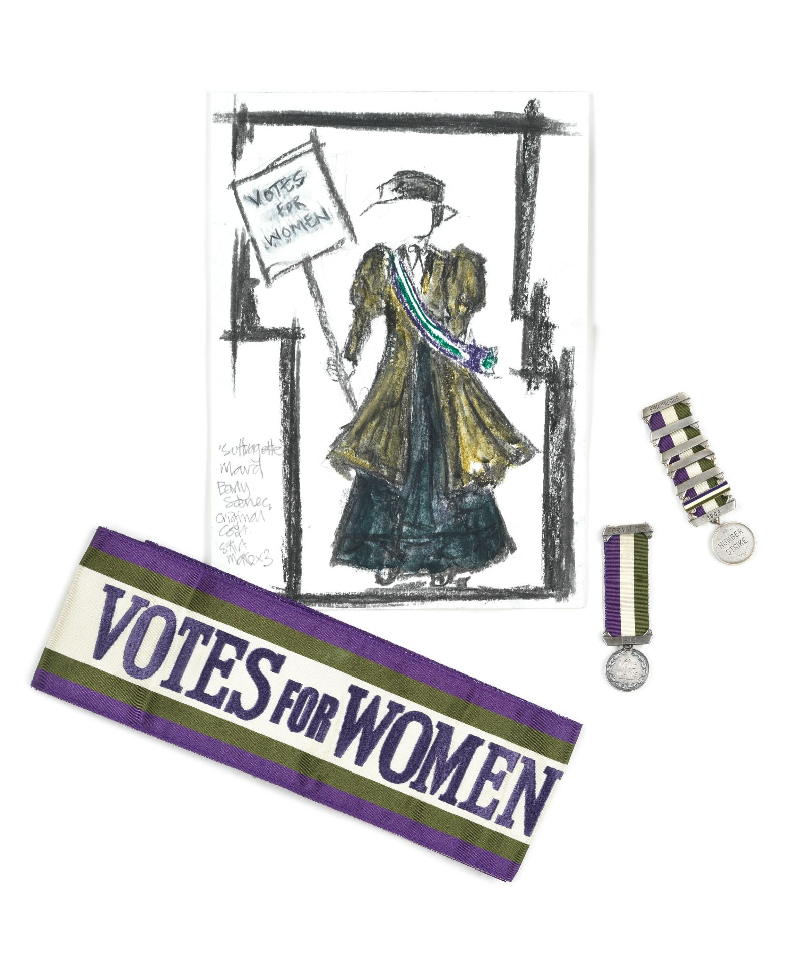 Suffragette: A sash and medal worn by Carey Mulligan for her role as 'Maud Watts', and a medal wo...