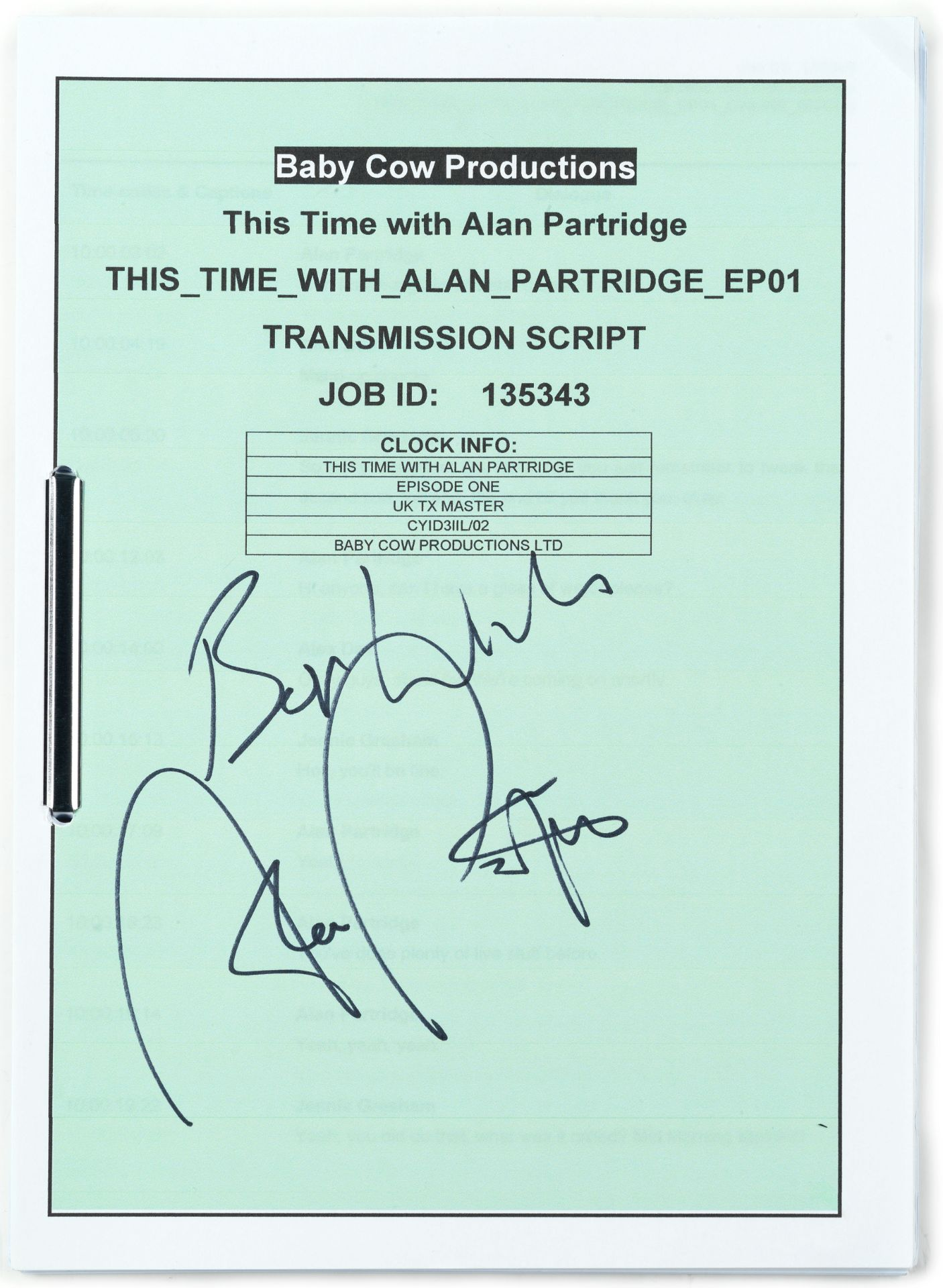 This Time With Alan Partridge: An autographed shooting script together with a signed transmission...