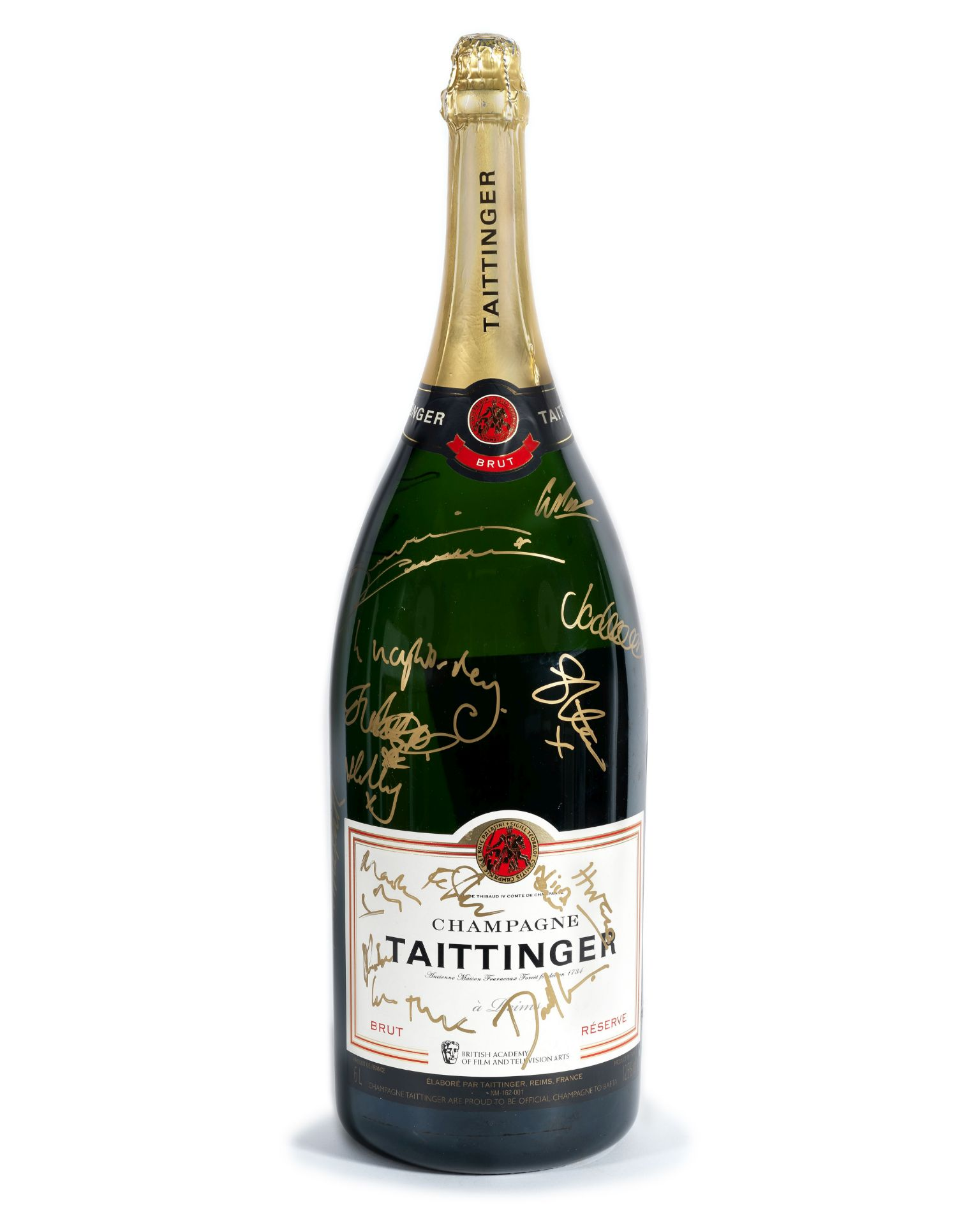 BAFTA: A Methuselah of Champagne Taittinger signed by guests at the 2019 Virgin Media British Aca...