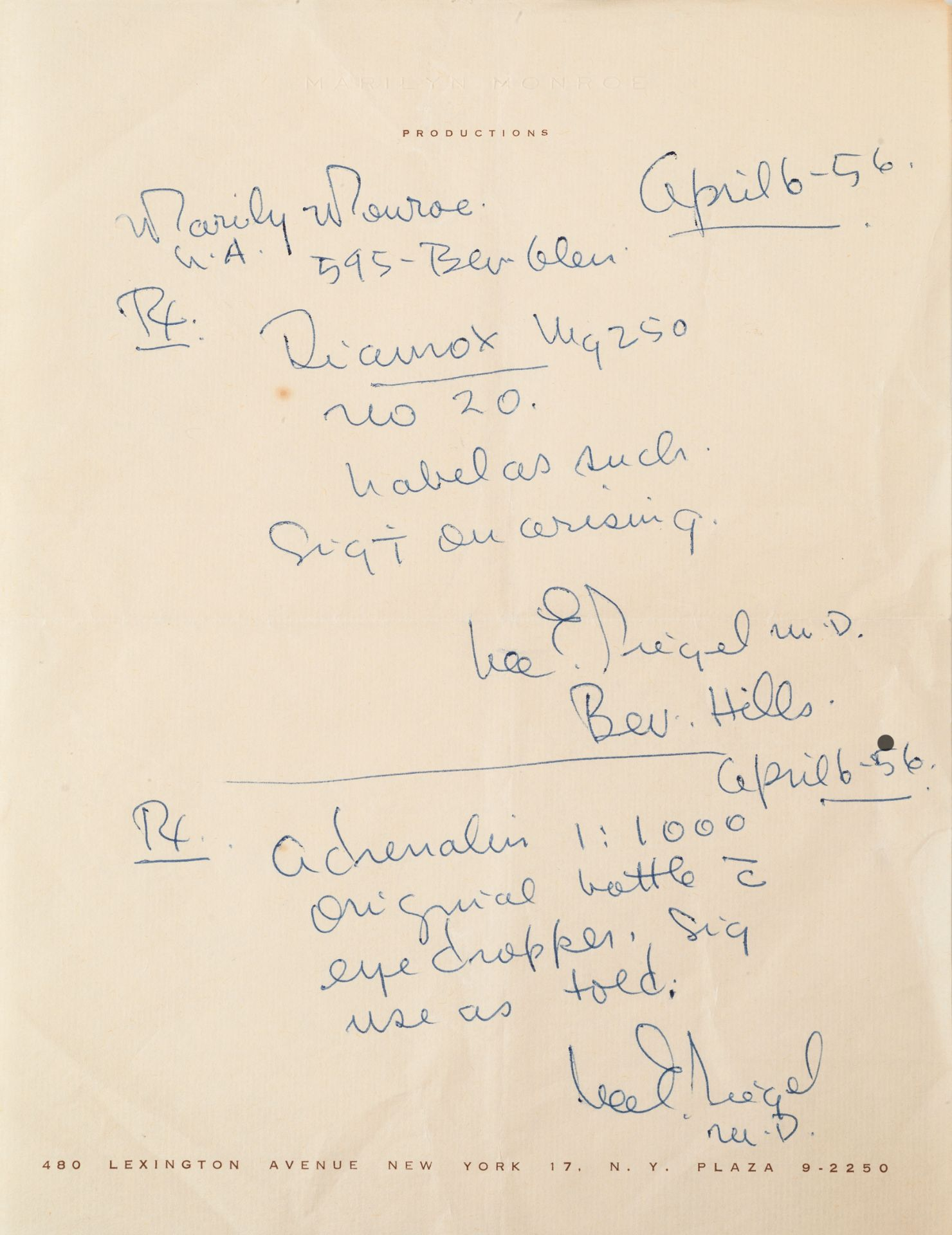 Marilyn Monroe: A prescription for Marilyn Monroe from Lee Seigel, dated 6th April 1956,