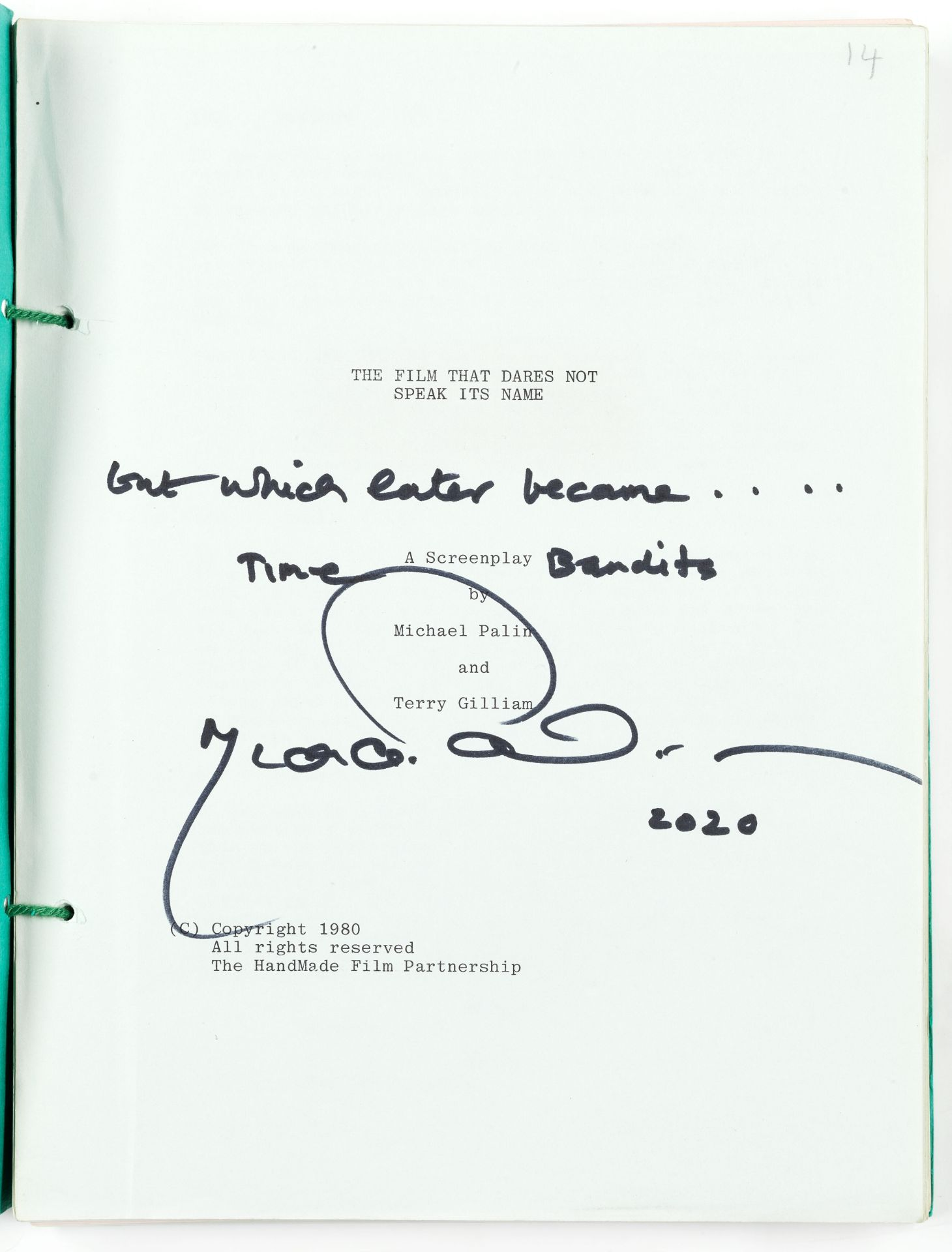 Time Bandits: A screenplay script signed by Michael Palin, Handmade Films, 1981,