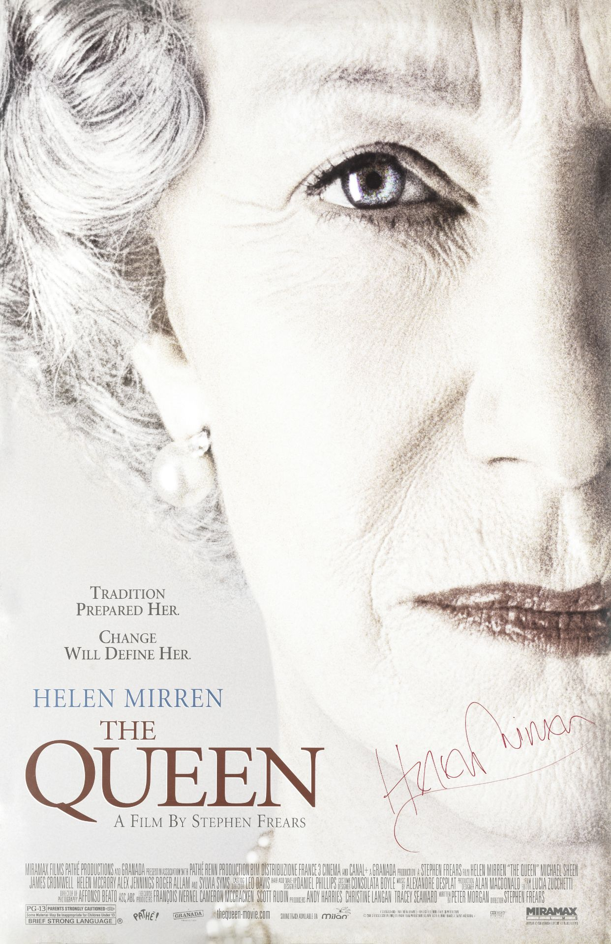 The Queen: A poster signed by Helen Mirren, Miramax, 2006,