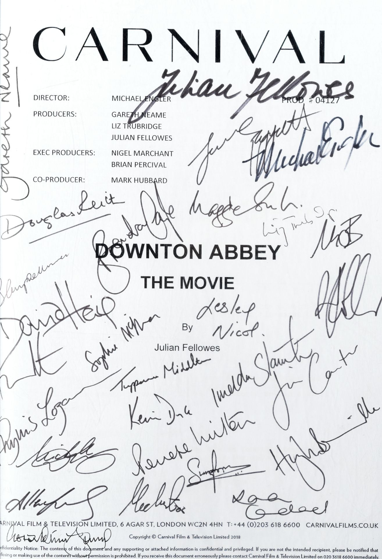 Downton Abbey (The Movie): A signed and bound presentation script, Carnival Films, 2019,