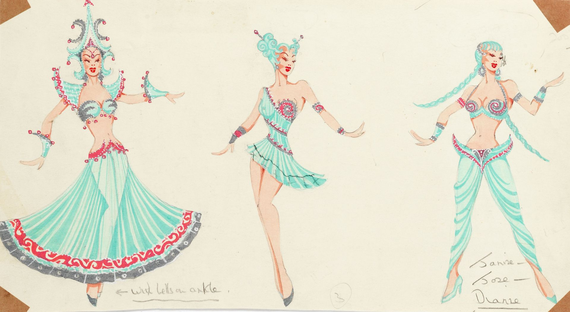 MICHAEL BRONZE (BRITISH, 1916-1979): A GROUP OF DRAWINGS OF COSTUME DESIGNS FOR MURRAY'S CABARET ...