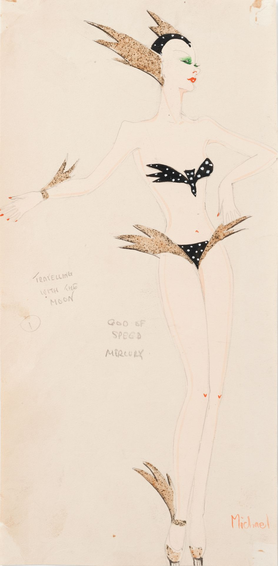 MICHAEL BRONZE (BRITISH, 1916-1979): A GROUP OF EIGHT DRAWINGS OF COSTUME DESIGNS FOR MURRAY'S CA...