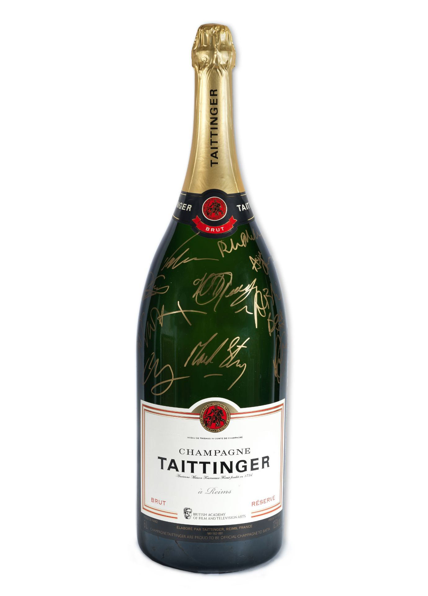 BAFTA: A Methuselah of Champagne Taittinger signed by guests at the 2020 EE British Academy Film ...