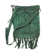 Jimi Hendrix: A fringed, green suede shoulder bag, circa 1969,
