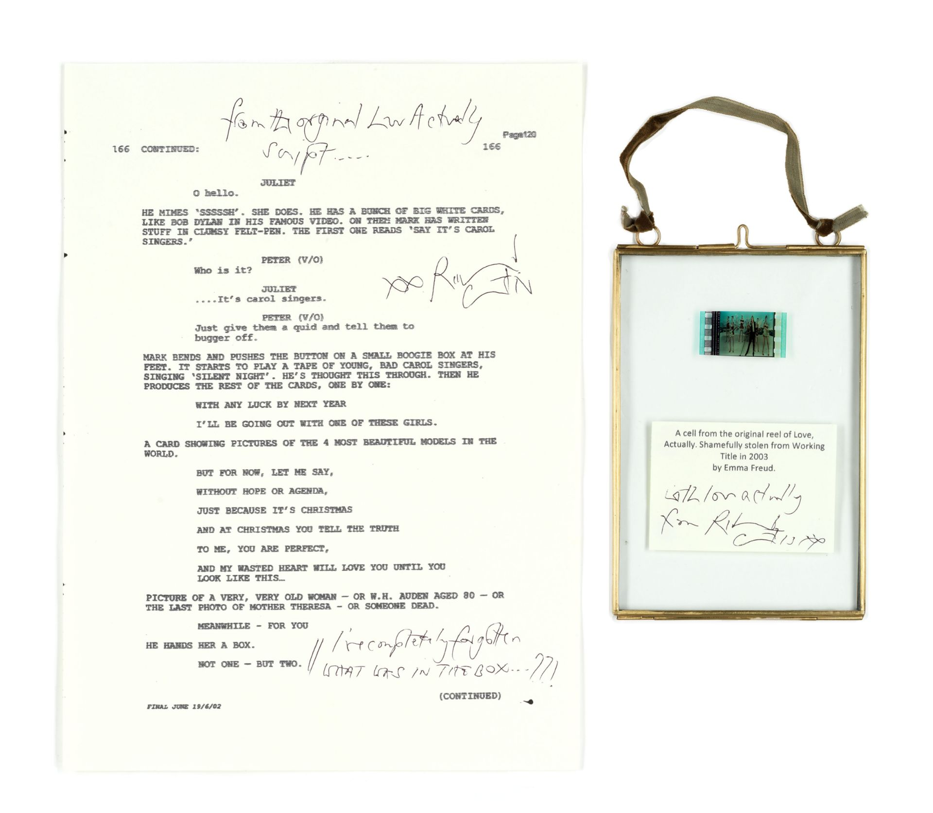 Love Actually: A signed script page and original cel from the film reel, Working Title, 2003, 2