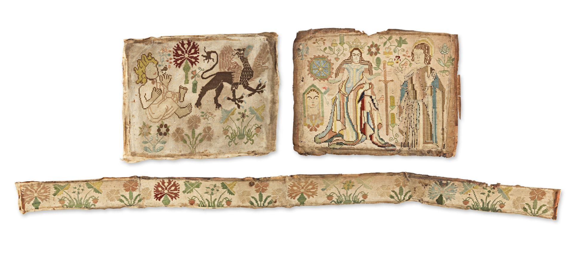 Los 46 - Three William & Mary needlework panels, circa 1690 (3)