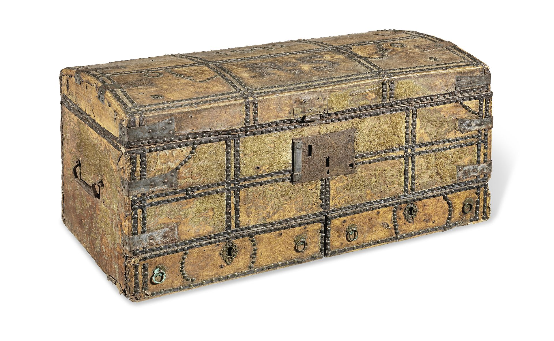 Los 280 - A late 17th century pig-skin covered chest, with drawer, dated 1697