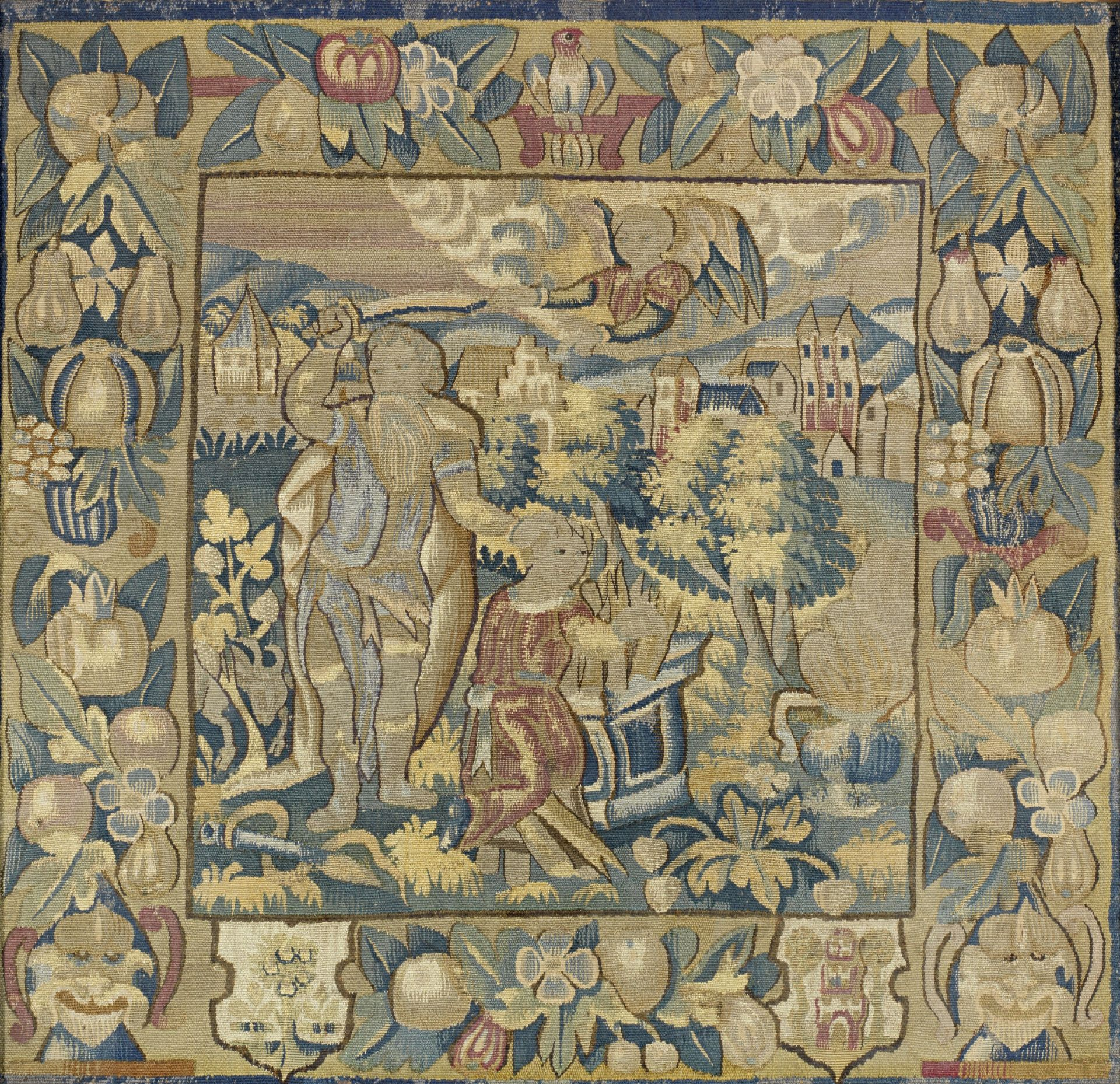 Los 74 - A rare late 16th large tapestry cushion cover, English or North European, circa 1580