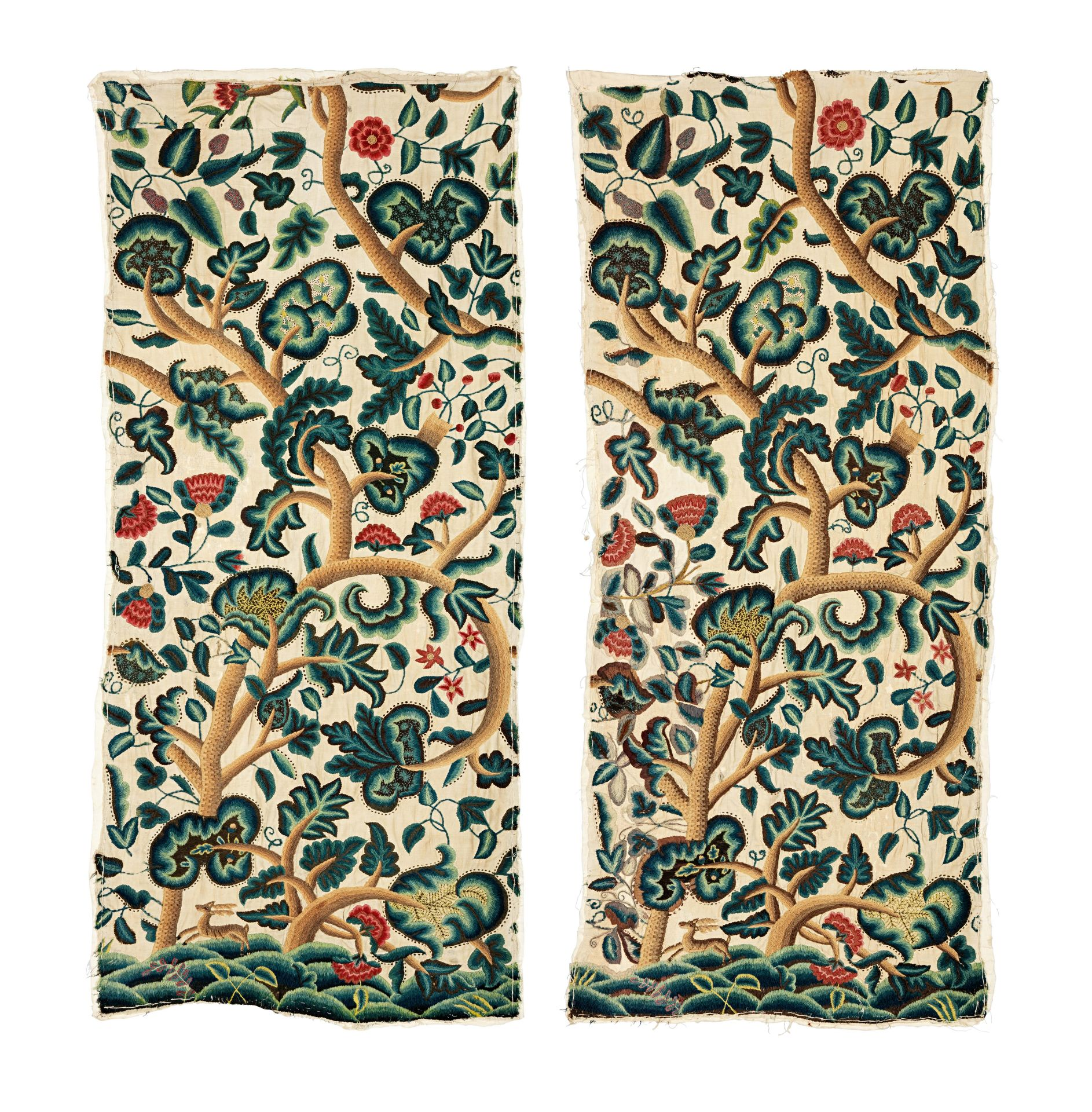 Los 374 - A good pair of William & Mary/Queen Anne crewelwork wall hangings, circa 1690-1710 (2)