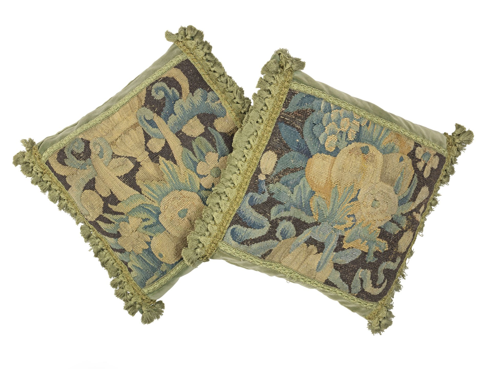 Los 229 - A pair of 17th century verdure tapestry cushions, Flemish (2)