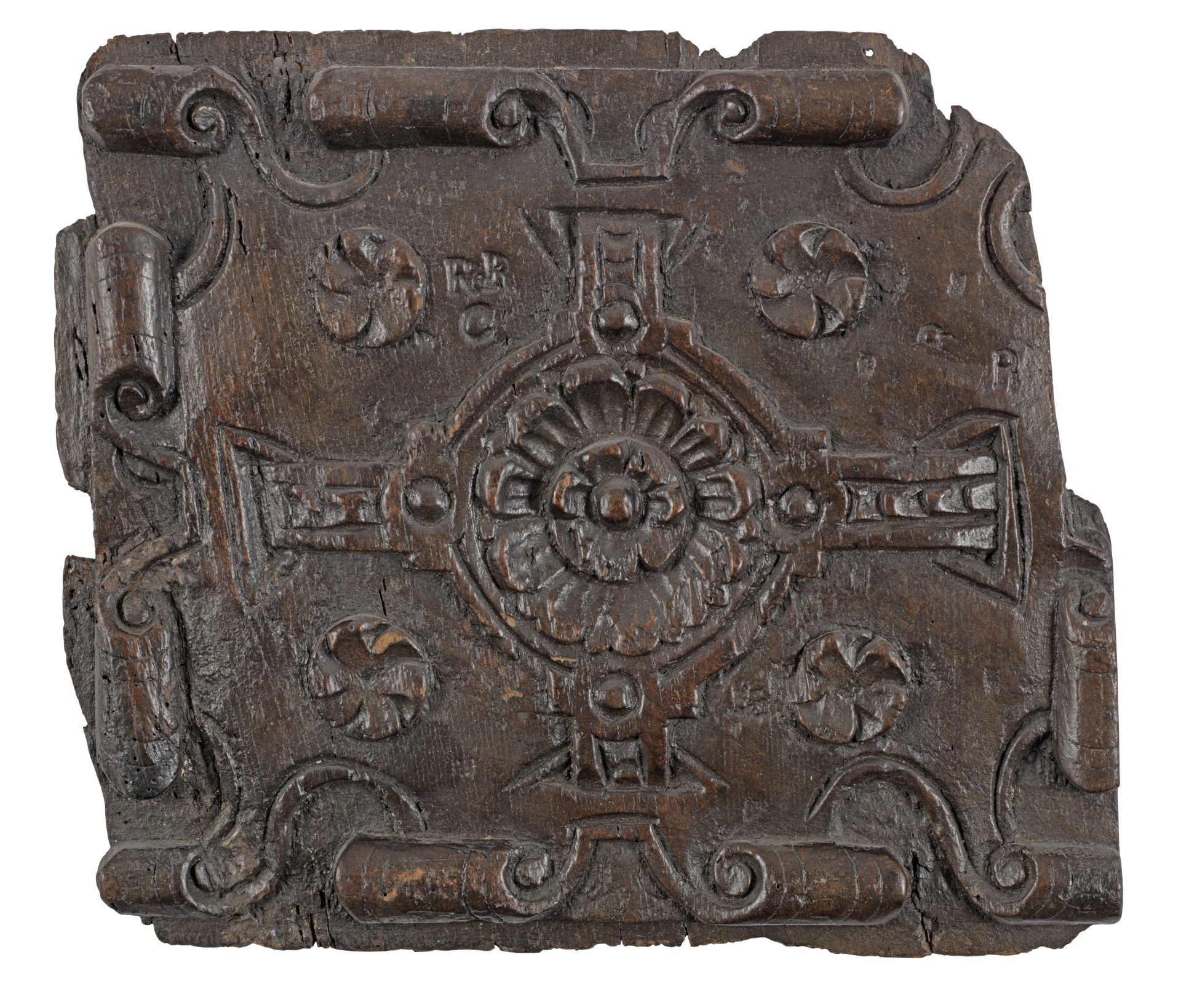 Los 413 - An early 17th century carved oak strapwork panel, English, circa 1620