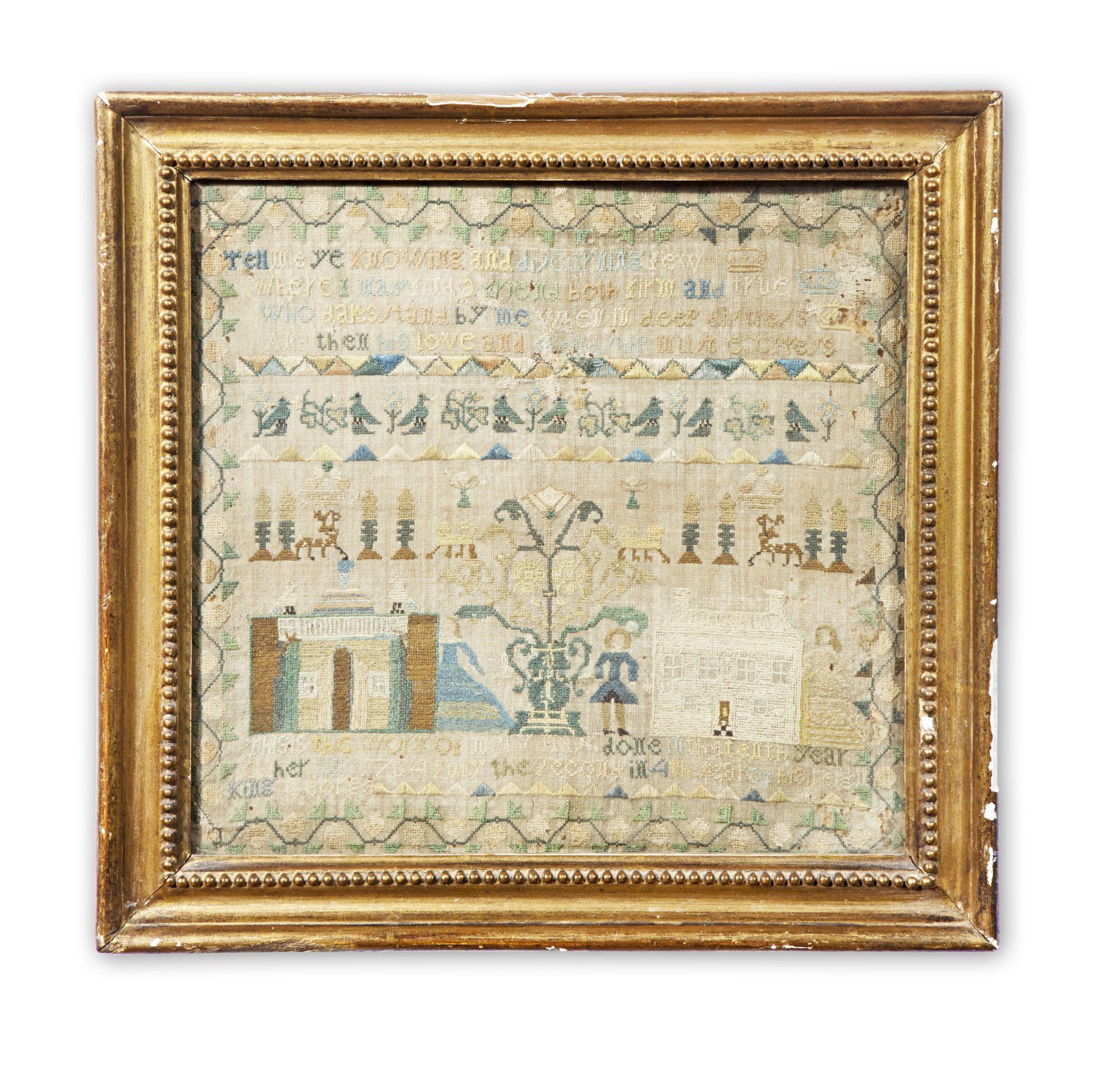 Los 227 - A George III needlework sampler, framed, dated 1764