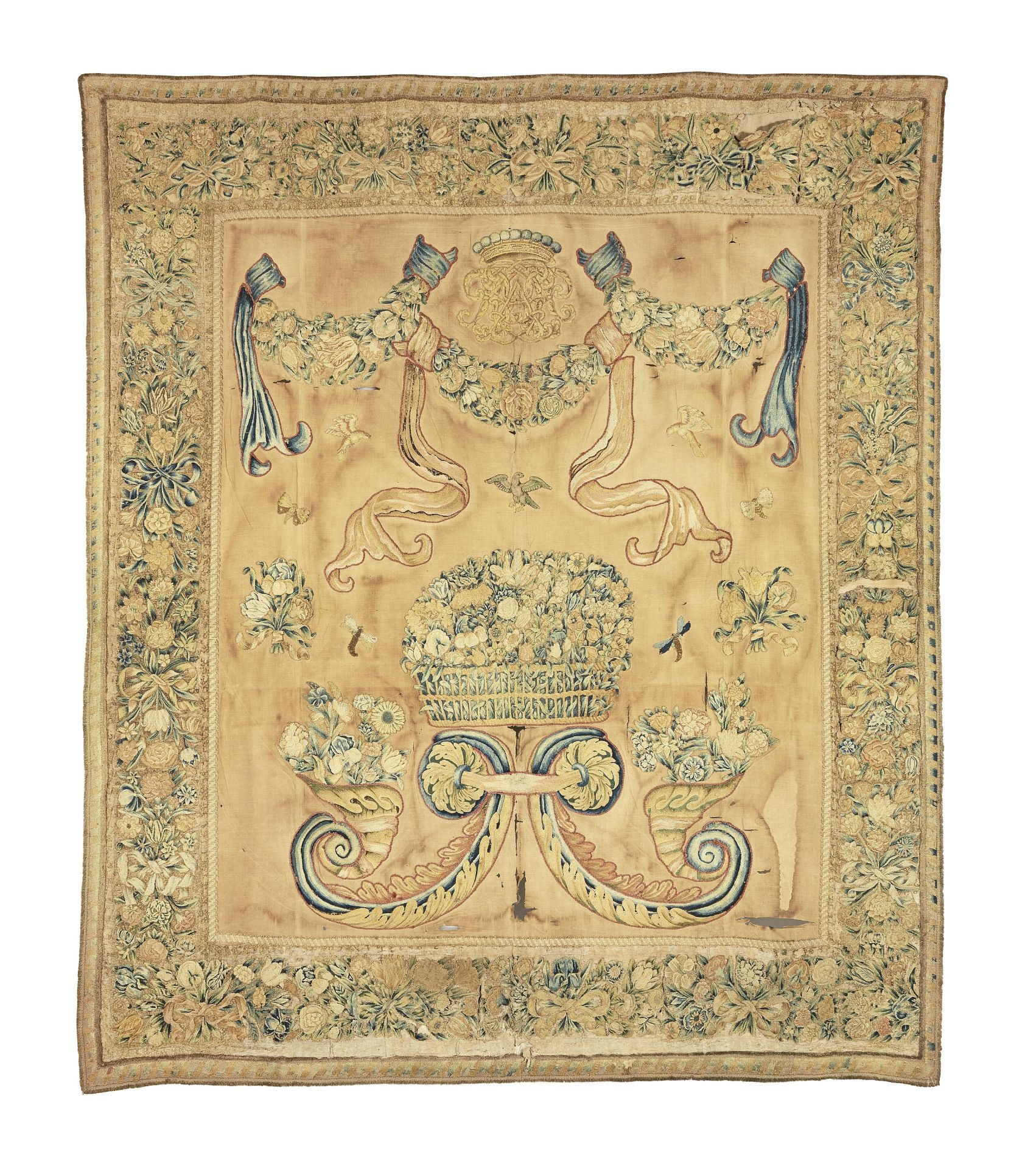 Los 53 - An 18th century armorial wall hanging, French, circa 1730-50