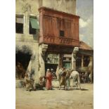 Victor Pierre Huguet (French, 1835-1902) Street scene with figures